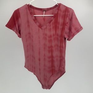 Tie Dye Bodysuit Pink Short Sleeve V Neck Top Poof